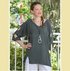 OH MY GAUZE Cotton LADDER Peek-A-Boo Tunic Pocket Top 1 (M/L) 2 (XL/1X) GRAPHITE