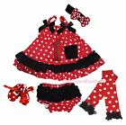 Birthday 1ST Red Minnie Dots Swing Top Baby Girl Bloomer Shoes Leg Warmer NB-2Y
