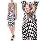 1x Sexy Women Slim Digital Printed Dress Sleeveless Casual Party Pencil Dress MT