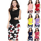 Ladies Floral Print Dress Womens Formal Bodycon Bandage Pencil Midi Office Dress