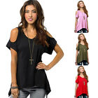 2016 Women's V-Neck Vogue Shoulder Off Wide Hem Design Tops Shirt New Arrival