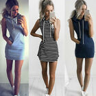 Women Bodycon Sleeveless Slim Mini Dress Casual Hoodie Sweatshirt Long Top Dress