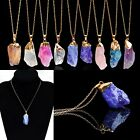 Vogue Agate Druzy Emperor Quartz Stone Natural Gold Pendant Necklace Jewelry