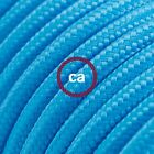 RM11 Turquoise Solid Round Electric Cable covered by Rayon fabric