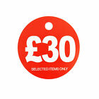 £30 ROUND PRICE DISPLAY CARD  HANGER SWING TICKETS FOR MARKET & RETAIL DISPLAY