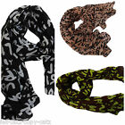 BLACK, BROWN/GREEN, PINK GRAFFITI PRINT FASHION LADIES SCARF SHAWL WRAP UKSELLER