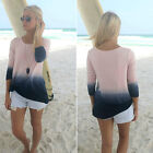 Womens Ladies Casual Long Sleeve Crew Neck T Shirt Loose Tops Blouse Size 8-24
