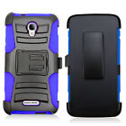 For ALCATEL OneTouch ALLURA GoPhone Rugged Hybrid Holster Clip Case Phone Cover