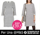 PER UNA @M&S New Ladies Pure Cotton Mono Striped Tunic Dress 8 10 12 14 16 18 20