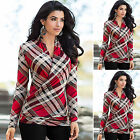 Fashion Women Long Sleeve T-shirt Girl Plaid V-Neck Shirt Tee Tops Casual Blouse