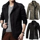 Fashion Men's Winter Warm Casual Coat Zip Army Military Jacket Overcoat Outwear