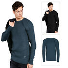 Brave Soul Consul Mens Jumper Crew Neck Raglan Sleeve Ribbed Knitted Pullover