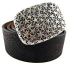 Perpetual Vogue Leather Belt with Stars Belt Buckle Unisex Rocker Belt