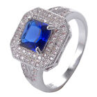 Blue Sapphire & White Topaz 925 Sterliing Silver Wedding Ring Size6-10# A425