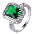 Green Emerald & White Topaz 925 Sterliing Silver Gemstone Ring Size6-10# A453