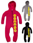 Girls Emoji Onesie New Kids Smiley Face Emoticons All In One Ages 5-13 Years