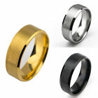8mm Titanium Stainless Steel Men's Ring Band Jewelry Wedding Silver Black Gold