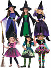 Girls Halloween Witch Costume Deluxe Fancy Dress Outfit Childrens Party Witches