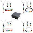 7 Stone Gemstone Reiki Chakra Bead Pendant Chain Necklace Earring W/Box Set Gift