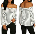 Women Lady Sexy Off Shoulder Blouse Casual  Striped Long Sleeve Tee Tops T-shirt