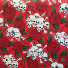 100 % cotton red  skulls & roses fabric goth per 1/2 metre/fat quarter