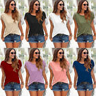 New Womens Tassels Short Sleeve Loose T-Shirt Ladies Summer Casual Tops Blouse