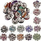 100 Czech Crystal Rhinestone Silver Rondelle Spacer Beads  6mm 8mm