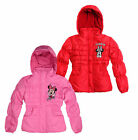 Girls Disney Minnie Mouse Padded Winter Coat New Kids Hooded Jacket 2-8 Years