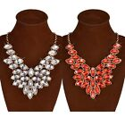 Hot Sale Fashion Women Lady Gold Plated Crystal Pendant Chain Statement Necklace