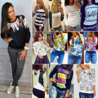 Casual Womens Pullover Tops Graphic Hoodie Sweatshirt Long Sleeve Jumper Blouse