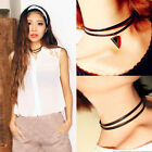 Fashion Women Gothic Double Layer PU Leather Triangle Charm Choker Necklace Gift