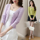 Fashion women's pure color Long-sleeved v-neck Thin knitting cardigan sweater $9.27 USD
