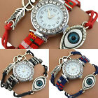 Women Vintage Heart Heart Love Eye Multilayer Braid Bracelet Wristwatch Sassy