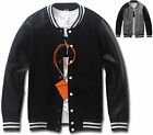 Mens Slim Fit Leather Sleeve Baseball Jumper Jacket Blazer Outwear Top W013- S/M