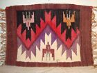"Small Vintage Beautiful Navajo? Indian Rug w Tassels 15 "" By 10.5 """