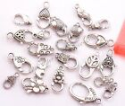 10Pcs Tibetan Silver Charms Heart Lobster Clasps Hooks (22 Types U PICK )