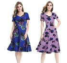 women's elegant Vintage print rose Floral Cocktail party dress plus size S-4XL