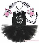 Party Kid Child Dalmatian Dog 6P Headband Paw Tail Bow Shirt Gauze Skirt Costume