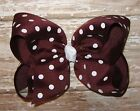 X-Large 6 inch MAROON & White Polka Dot Grosgrain Ribbon Boutique Hair Bow