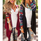 Women Irregular Knitted Sweater Open Stitch Cardigans Casual Aztec Striped Coat