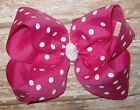 X-Large 6 inch Wild Berry & White Polka Dot Grosgrain Ribbon Hair Bow