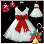 Red White Wedding Party Flower Grils Dresses Outfit AGE 1,2,3,4,5,6,7,8,10,12Y