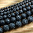 Wholesale Natural Black Volcanic Lava Gemstone Round Beads 4/6/8/10/12/14mm