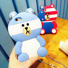 Cartoon 3D cute Flag Brown Bear Rubber Strap soft case cover for iphone6 6S plus