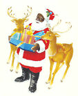 Ceramic Decals African American Santa Reindeer Christmas Presents image