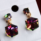 Pop Korean Style Square Shaped Crystal Cubic Earrings Ear Stud 1 Pair EW