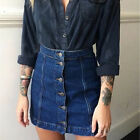 Women Button Front Mini Denim Skirt Casual High Waist A-line Jeans Skirt EW