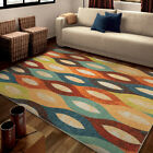 Multi-Color Contemporary Synthetics Ovals Ruby Curves Area Rug Geometric 2828