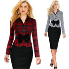 womens elegant Vintage long-sleeve plaid bow belt office work wear dress clothes