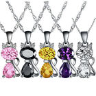 New Bling Cute Cat Plated S925 Silver Crystal Zircon Pendant Necklace Jewelry